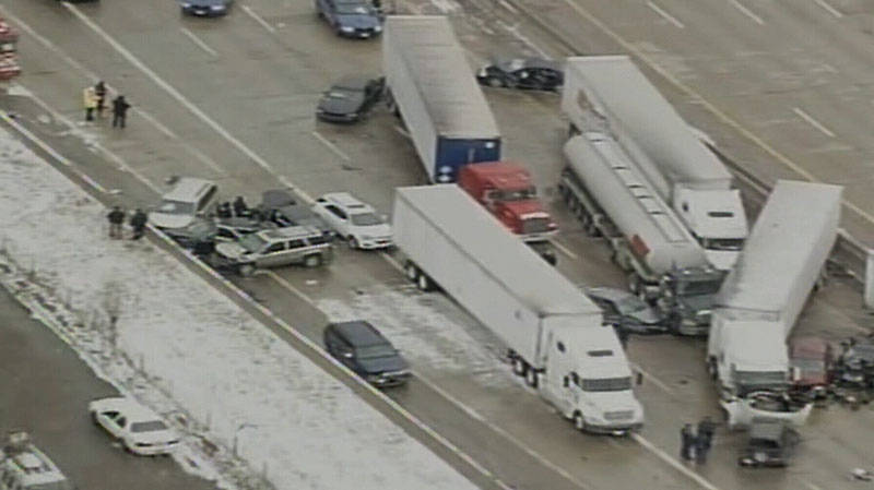 At least three people are dead following a massive vehicle pileup on a highway in Detroit, Thursday, Jan. 31, 2013.
