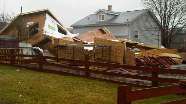 A home under construction collapsed under strong winds Thursday in Spryfield, N.S.
