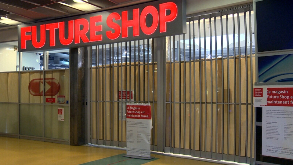 Signs are posted outside of a Future Shop, notifying customers that the Montreal location has closed, Thursday, Jan. 31, 2013.