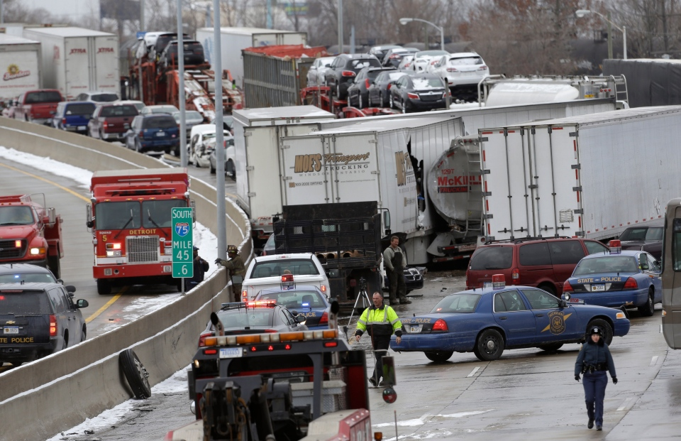 A section of multi-vehicle accident on Interstate 75 is shown in Detroit, Thursday, Jan. 31, 2013. (AP / Paul Sancya)