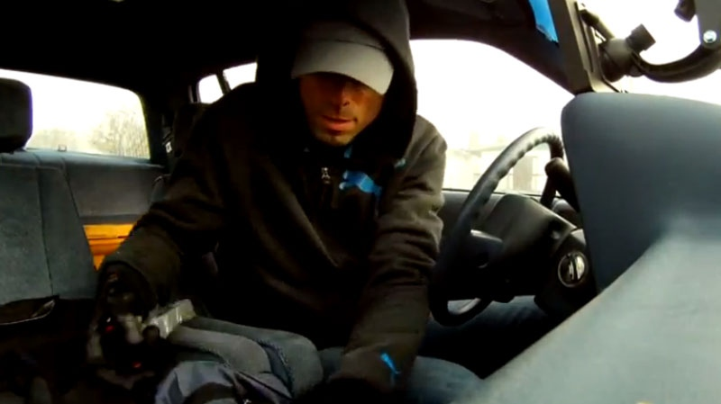 The RCMP demonstrates it's new bait car technology with a staged break-in video. Jan. 31, 2013. (Handout)