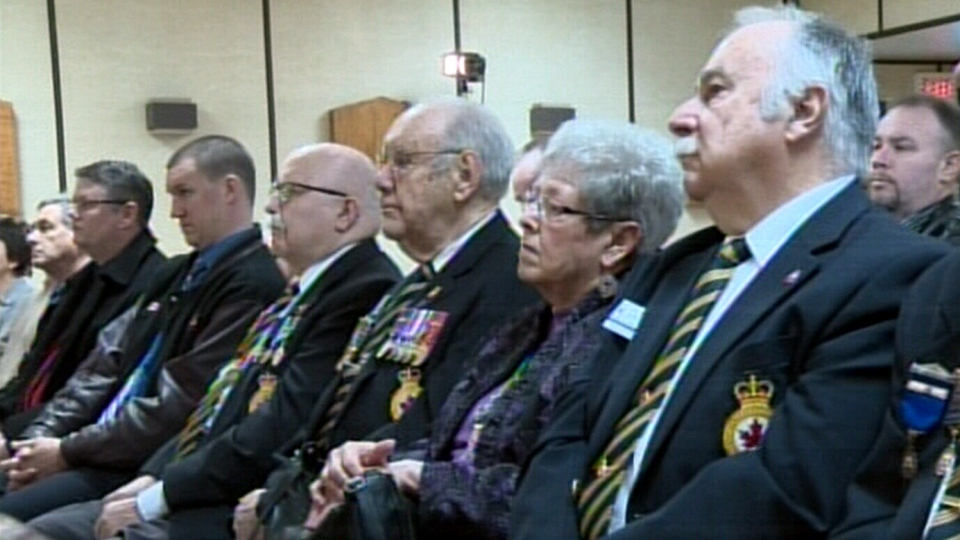 A news conference urging all Canadians to lobby the federal government for more help with funeral costs for veterans was held in Elmira, Ont., Thursday, Jan. 31, 2013.