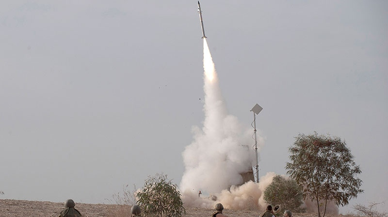 An Israeli Iron Dome missile is launched near the city of Be'er Sheva, southern Israel, to intercept a rocket fired from Gaza, Nov. 17, 2012. (AP / Ahikam Seri)