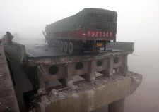Collapsed bridge in Henan, China on Feb. 1, 2013