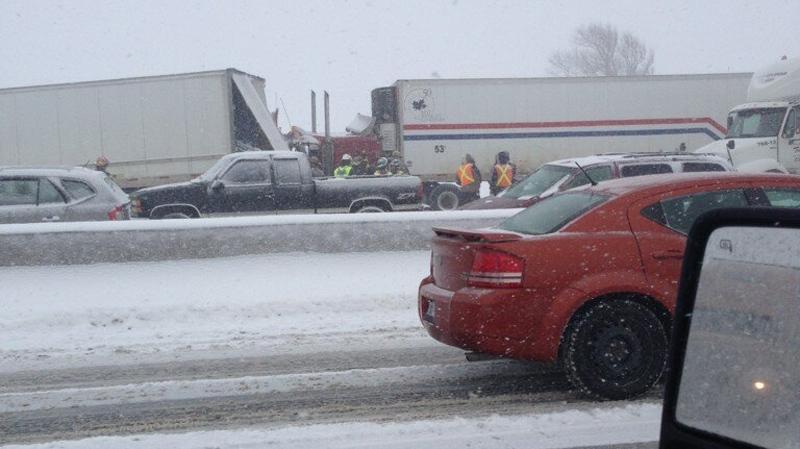 Roadside photo of the pile-up on Highway 401 near Woodstock, Ont. on Feb. 1, 2013. (Steve Toms)