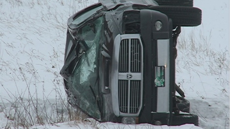 EMS crews responded to this single-vehicle rollover 10 kilometers outside of Saskatoon early Tuesday morning.