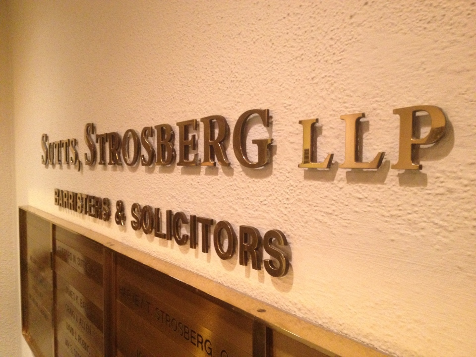 The sign for the Windsor office of Sutts, Strosberg LLP in Windsor, Ont., Friday, Feb. 1, 2013. (Rich Garton / CTV Windsor)