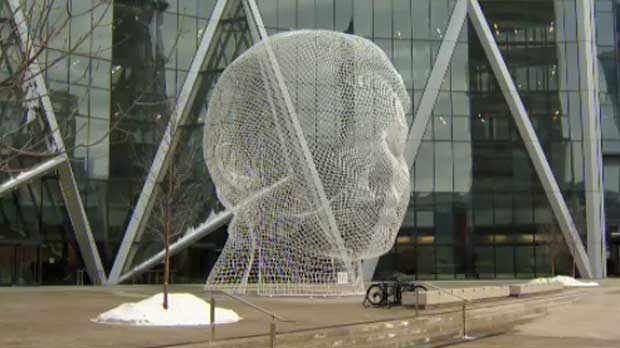 The 12 metre sculpture will officially be unveiled in the spring.