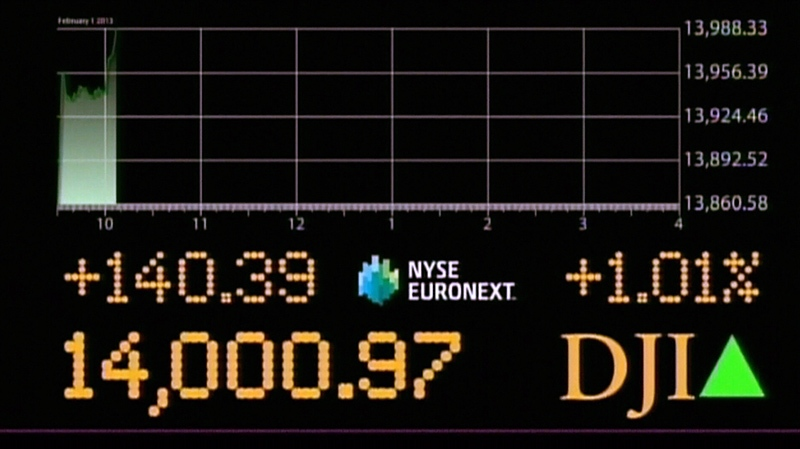For the first time since the major recession in 2007, the Dow closed above 14,000 on Friday, Feb. 1, 2013.