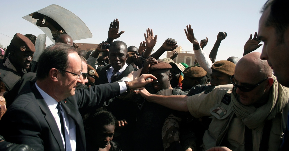 French President Francois Hollande visits Timbuktu, Mali on Feb. 2, 2013. (AP / Jerome Delay)