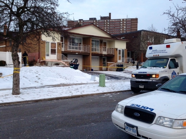 Police attend the scene of a homicide on Clancy Drive in North York Saturday February, 2, 2012. (CP24/ Cristina Tenaglia)