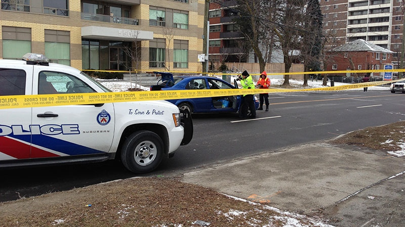 Police are on the scene of an accident on Birchmount Road in Scarborough, Ont. on Saturday, Feb. 2, 2013.