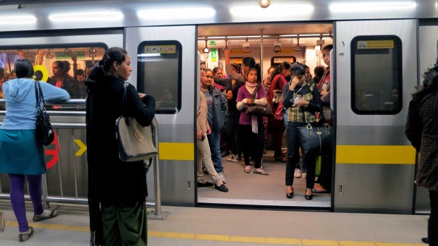 Indian women travel in Women Only metro train