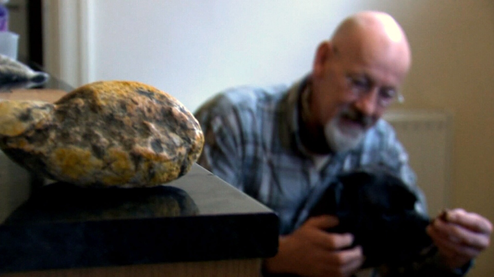 Beachcomber Ken Wilman and his dog found ambergris on Morecambe beach, in northern England.