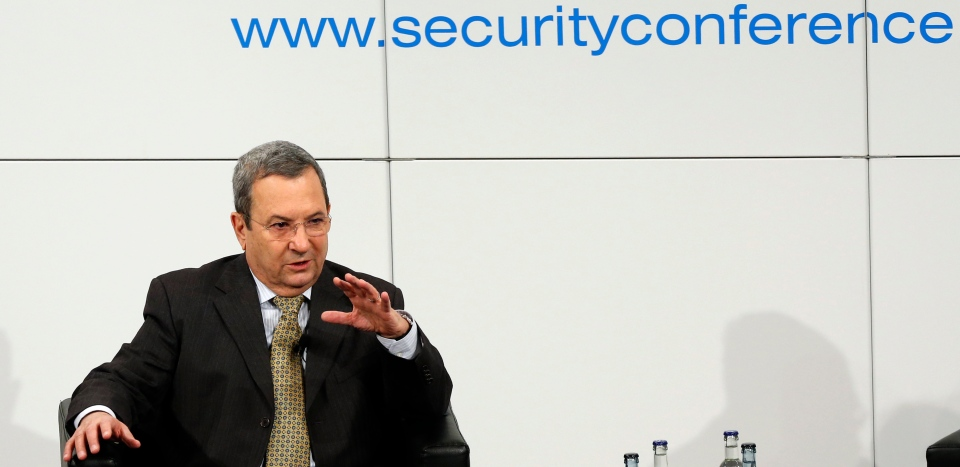 Israeli Defense Minister Ehud Barak gestures during a meeting at the Security Conference in Munich, southern Germany, on Sunday, Feb. 3, 2013. (AP / Matthias Schrader)
