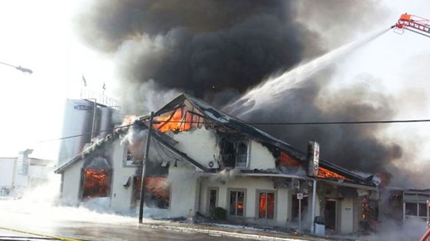 A MyNews contributor sends in this image of a fire at the St. Albert Cheese Factory in Ottawa on Sunday, Feb. 3, 2013. (Josh Nicol / MyNews.CTVNews.ca)