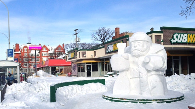 One snow sculpture emerged overnight at Osborne St