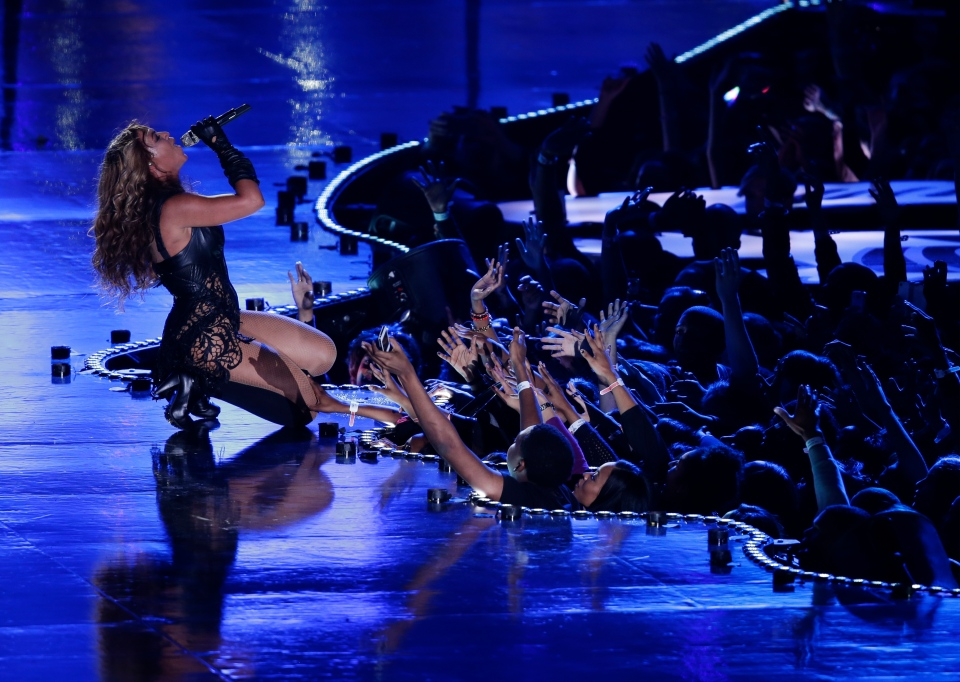 Beyonce performs during the halftime show of the NFL Super Bowl XLVII football game between the San Francisco 49ers and the Baltimore Ravens, Sunday, Feb. 3, 2013, in New Orleans. (AP /Gerald Herbert)