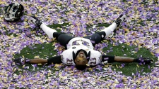 Baltimore Ravens defensive back celebrates win
