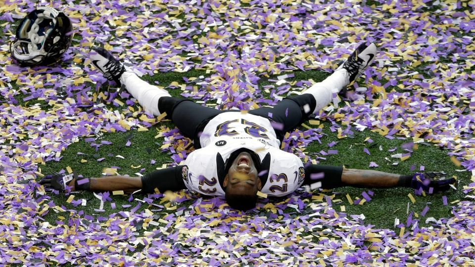 Baltimore Ravens defensive back Chykie Brown (23) celebrates after the NFL Super Bowl XLVII football game against the San Francisco 49ers, Sunday, Feb. 3, 2013, in New Orleans. The Ravens won 34-31. (AP Photo / Charlie Riedel)