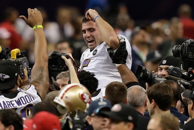 Joe Flacco celebrates after winning Super Bowl