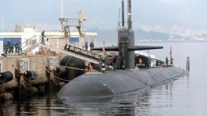 In this Friday, Feb. 1, 2013 photo, the USS San Francisco, a U.S. nuclear-powered submarine, is docked before South Korea and U.S. joint military exercises at Jinhae naval base in South Korea. (AP Photo/Yonhap)
