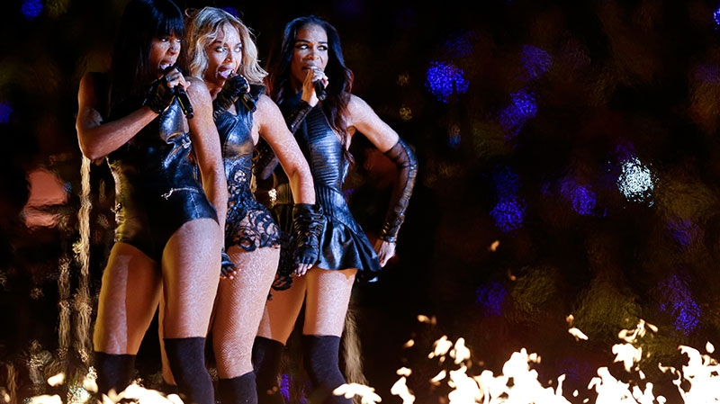 Beyonce, center, Kelly Rowland, left, and Michelle Williams, of Destiny's Child, perform during the halftime show of the NFL Super Bowl XLVII football game between the San Francisco 49ers and the Baltimore Ravens in New Orleans, Sunday, Feb. 3, 2013. (AP / Marcio Sanchez)
