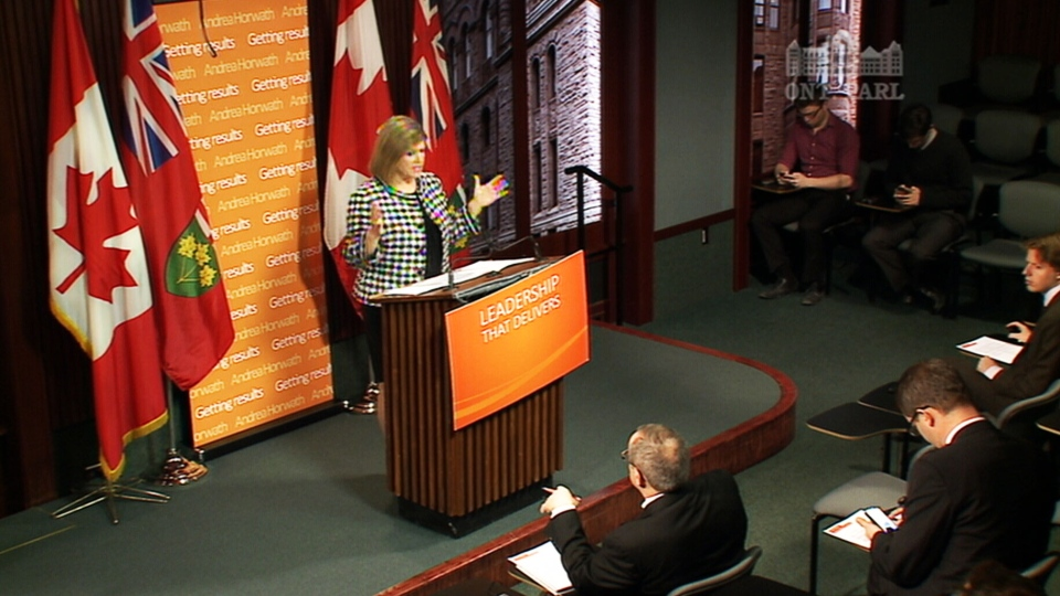 NDP Leader Andrea Horwath speaks at a press conference in Toronto on Monday, Feb. 4, 2013.