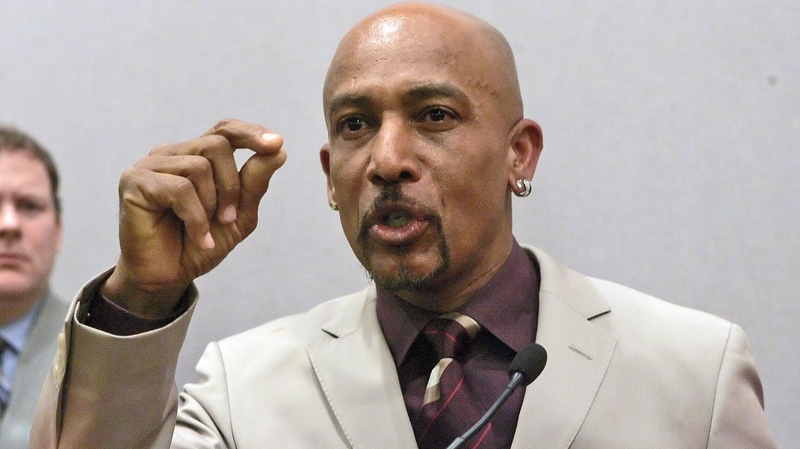 Television talk show host Montel Williams emphasizes a point as he speaks at a news conference, Friday, March 23, 2007, at the Legislative Office Building in Hartford, Conn. Williams, who suffers from multiple sclerosis, urged Connecticut lawmakers to pass legislation this year allowing the medical use of marijuana.