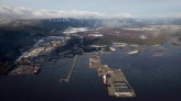 Douglas Channel, the proposed termination point for an oil pipeline in the Enbridge Northern Gateway Project, is pictured in an aerial view in Kitimat, B.C., on Jan. 10, 2012. (Darryl Dyck / THE CANADIAN PRESS)