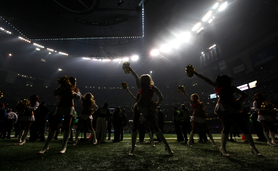 San Francisco 49ers cheerleaders perform during a power outage at the Superdome in the second half of the NFL Super Bowl XLVII football game on Sunday, Feb. 3, 2013, in New Orleans. (AP Photo/Evan Vucci)