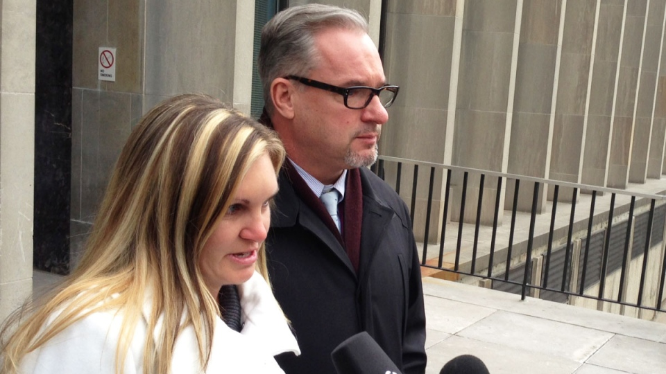 Speaking to reporters outside the courthouse, an emotional Christine Russell said 'the healing is stopping and the pain is back,' on Monday, Feb. 4, 2013. (Colin D'Mello / CTV News)