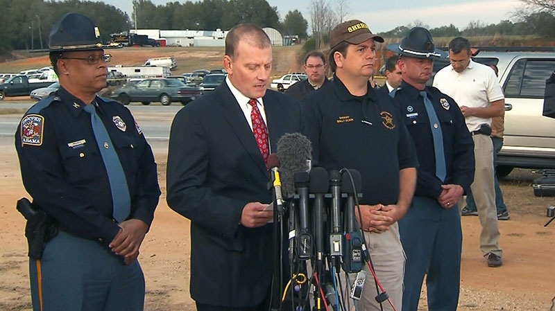 A law enforcement official provides an update on the Alabama hostage situation of a 5-year-old in Midland City, Ala., on Monday, Feb. 4, 2013.