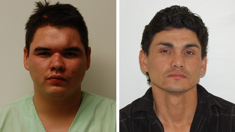 RCMP released these images of two suspects they've issued Alberta-wide arrest warrants for, Dakota Boudreau, 20, (L) and David Boudreau, 41. Supplied.