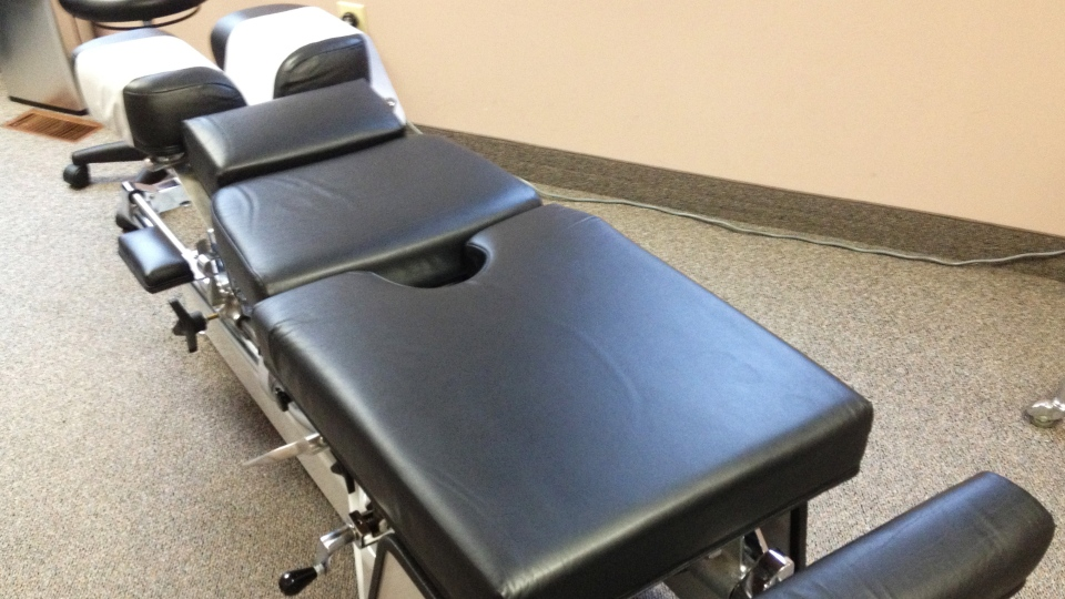 A chiropractor's table is seen in Kitchener, Ont., in this file photo. (David Imrie / CTV Kitchener)