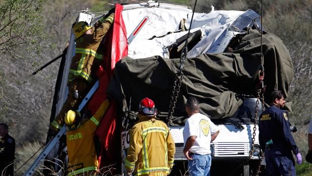 Accident scene near Yucaipa, Calif. Feb 4, 2013.