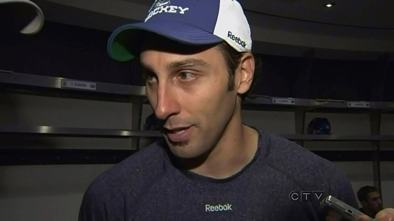 Vancouver Canucks goalie Roberto Luongo speaks to the media and calls Leigh Maureen Thornton an inspiration