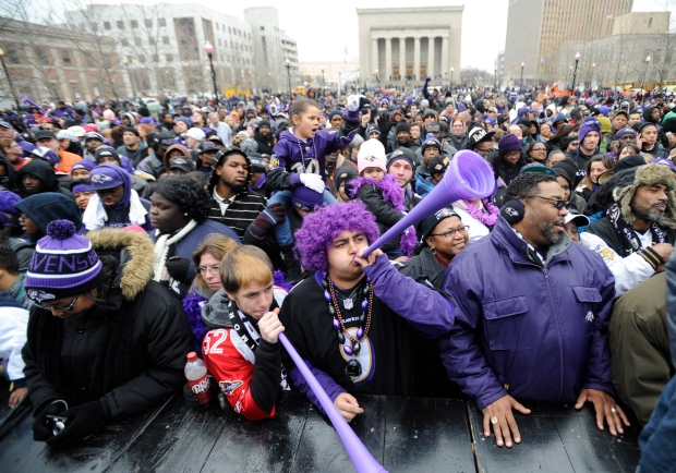 Baltimore Ravens celebrate Super Bowl win