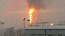 A fire broke out after an explosion at this oilsands facility north of Fort McMurray Thursday afternoon. Supplied.