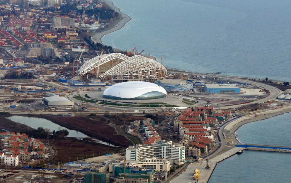 An aerial view of the Olympic Park in Sochi, Russia. The Russian prime minister is urging his government to come up with a plan for the venues after the Games are over. (AP / Dmitry Lovetsky)