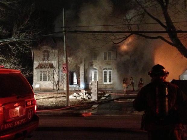 Firefighters battler Burlington blaze