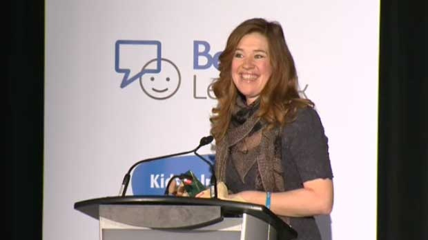 Clara Hughes speaks to students in Calgary on Tuesday, Feb 5, 2013.