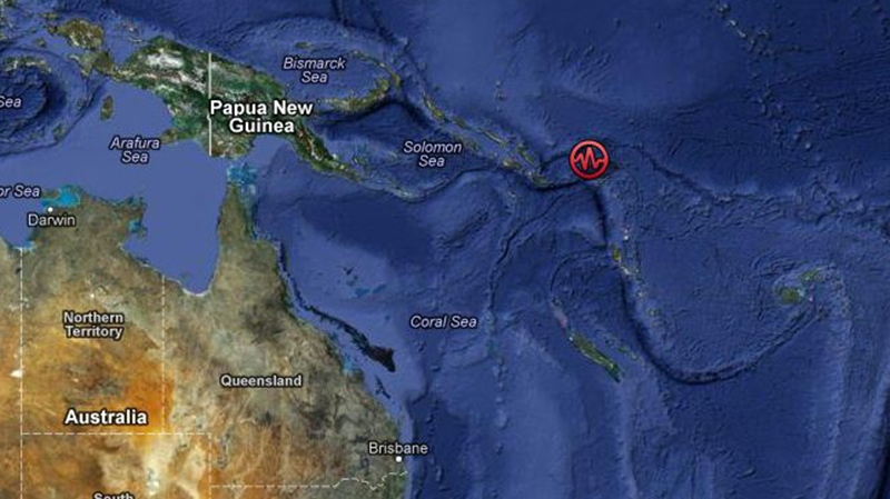 The earthquake struck near the Solomon Islands in the Pacific Ocean. (Google Maps)