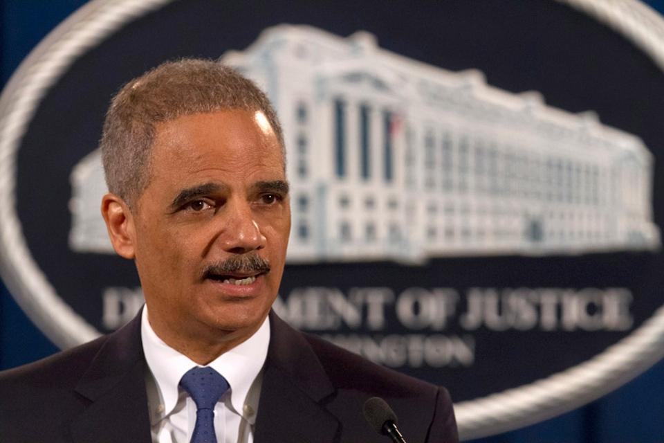 Attorney General Eric Holder speaks at the Justice Department in Washington, Tuesday, Feb. 5, 2013. (AP / Jacquelyn Martin)
