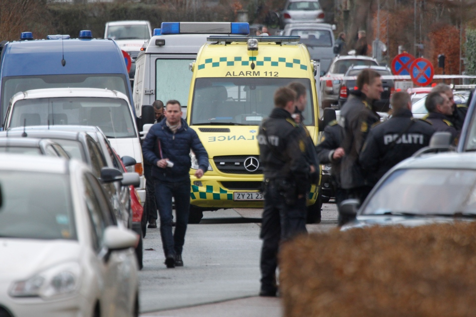 Danish police attend the crime scene after a shooting incident in Copenhagen, Denmark, Tuesday, Feb. 5, 2013. (Jens Dresling / POLFOTO)