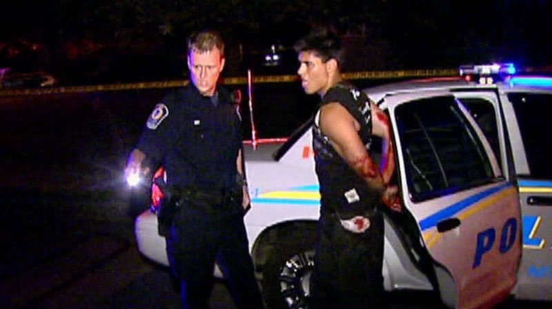 Maple Ridge kidnapping suspect Ian James William Campbell is seen being arrested following a police chase and shootout in 2005. (CTV News)