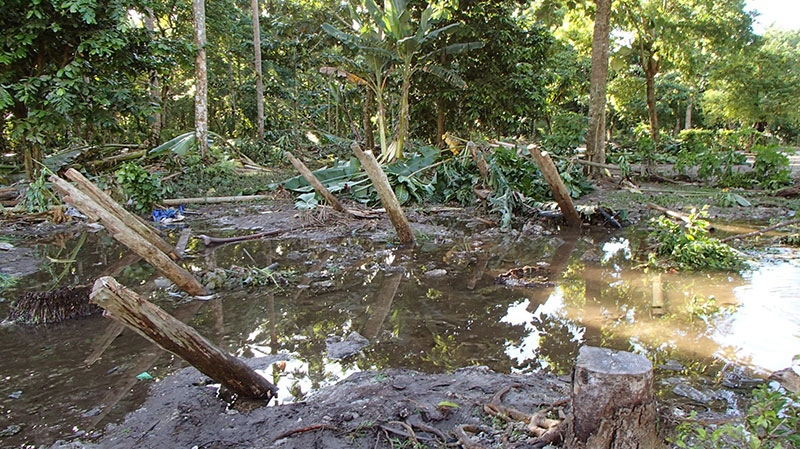 In a photo provided by Work Vision, a village is destroyed in the area of Lata, Temotu province, Solomon Islands, Wednesday, Feb. 6, 2013. (AP / World Vision)