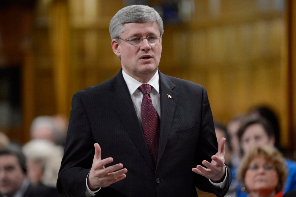 Prime Minister Stephen Harper rises during Question Period in the House of Commons on Parliament Hill in Ottawa on Feb. 6, 2013. (Adrian Wyld / THE CANADIAN PRESS)