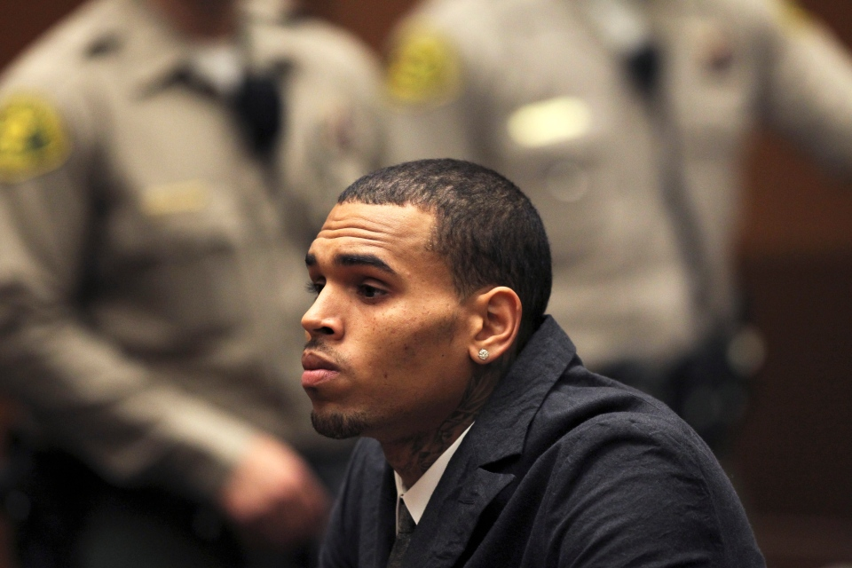 Chris Brown appears in court for a probation revocation hearing at the Criminal Justice Center in downtown Los Angeles on Wednesday, Feb. 6, 2013. (AP / David McNew)