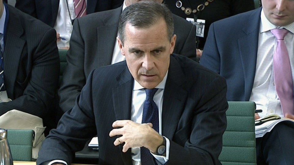 Mark Carney responds to questions before the U.K. Treasury Select committee in London, Thursday, Feb. 7, 2013.